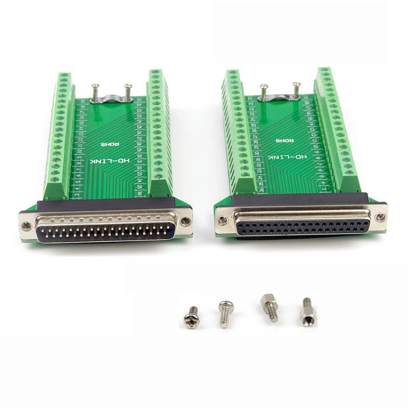 Connector DB37 D-SUB Female Jack 37 Pin Port Terminal Breakout 2 Row Solder-Free DB37 D-SUB DB-37 Adapter Terminal for DB Cable abro 026032 37 nude