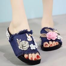 купить 2018 Women Slippers Cartoon Rabbit Summer Outside Canvas Slippers Slides Open Toe Flat Shoes Slides по цене 1373.38 рублей