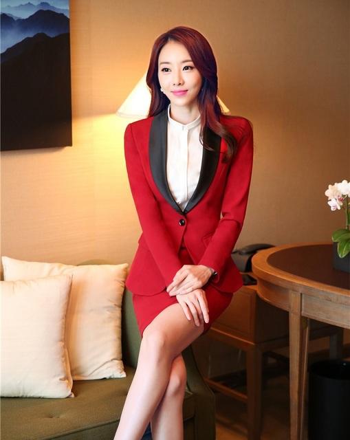 Plus Size 4XL Mulheres Se Adapte Às Jaquetas de Negócios Profissional E Conjunto Saia 2015 Outono Inverno de Forma Magro Projeto Uniformes de Estética