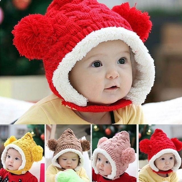 Hot Sale Baby Toddler Boy Girl Kids Winter hat Beanie Ear protectors Cap  Hot New Knitted a1722270bc34