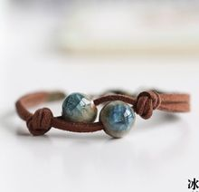 Spring Summer Handmade Ceramic Jewelry DIY Knitted Bracelet Leather Chain Boho For Woman Girl Accessories  2016