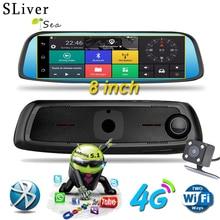 SLIVERYSEA 8 Full Touch IPS 4G Car DVR Camera Android Mirror GPS Bluetooth WIFI ADAS Assist Dual Lens Dash Cam #B1031