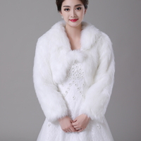 Free Shipping Women Winter Long Sleeve Cheap Ivory Thick Faux Fur Bridal Jackets Warm Boleros Wedding
