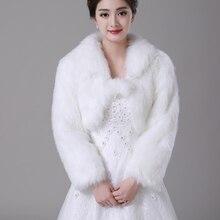 Free Shipping women Winter Long Sleeve Cheap Ivory Thick Faux Fur Bridal Jackets Warm Boleros Wedding shrug stole bridal jacket