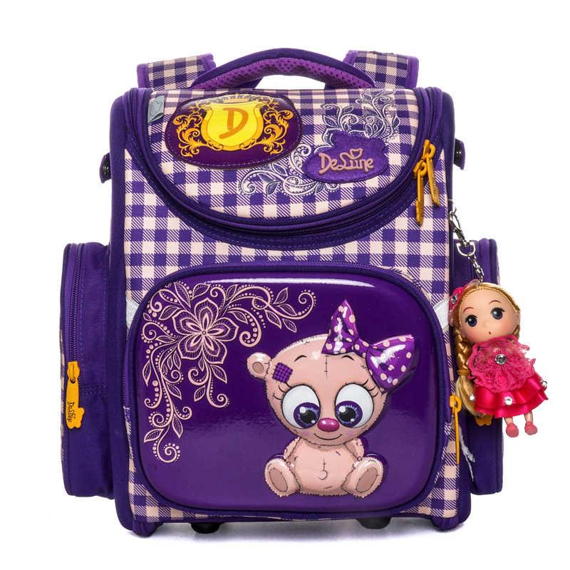 Delune Neue Grundschule Taschen Cartoon Orthopädische rucksack für Mädchen Bär Katze Druck Kinder Mochila Infantil escolar1-3
