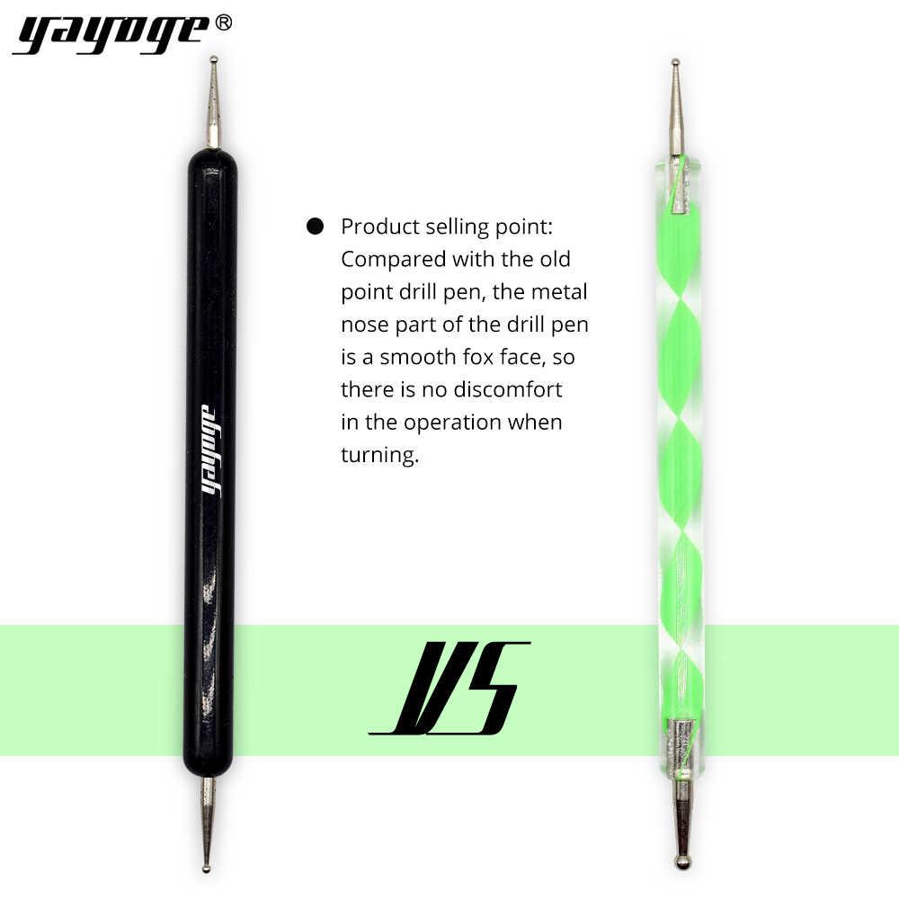 Yayoge 2 vías bolígrafo de punteo de madera herramientas de punteo de acero inoxidable para Diseño de Arte de uñas