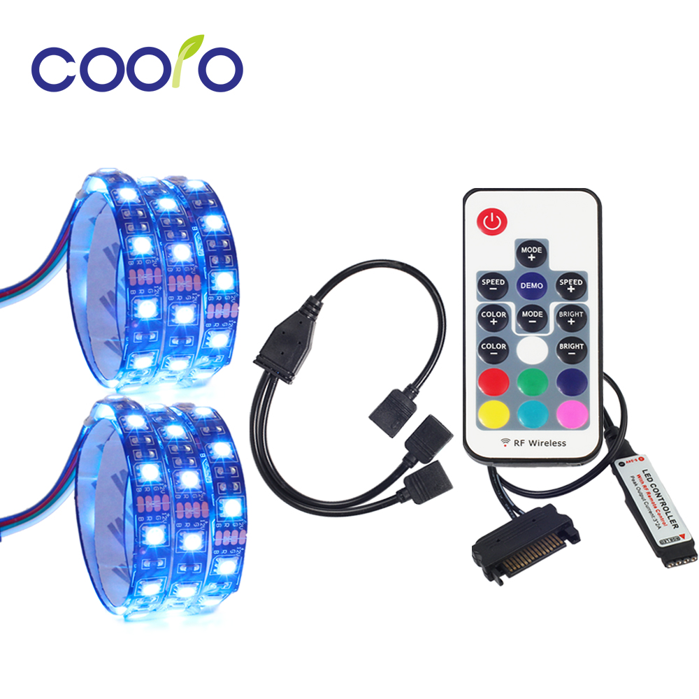 RGB LED Strip Light PC Computer Case Light 2PCS Set With Remote Control 4Pin Divided Connecter 100cm 200cmRGB LED Strip Light PC Computer Case Light 2PCS Set With Remote Control 4Pin Divided Connecter 100cm 200cm