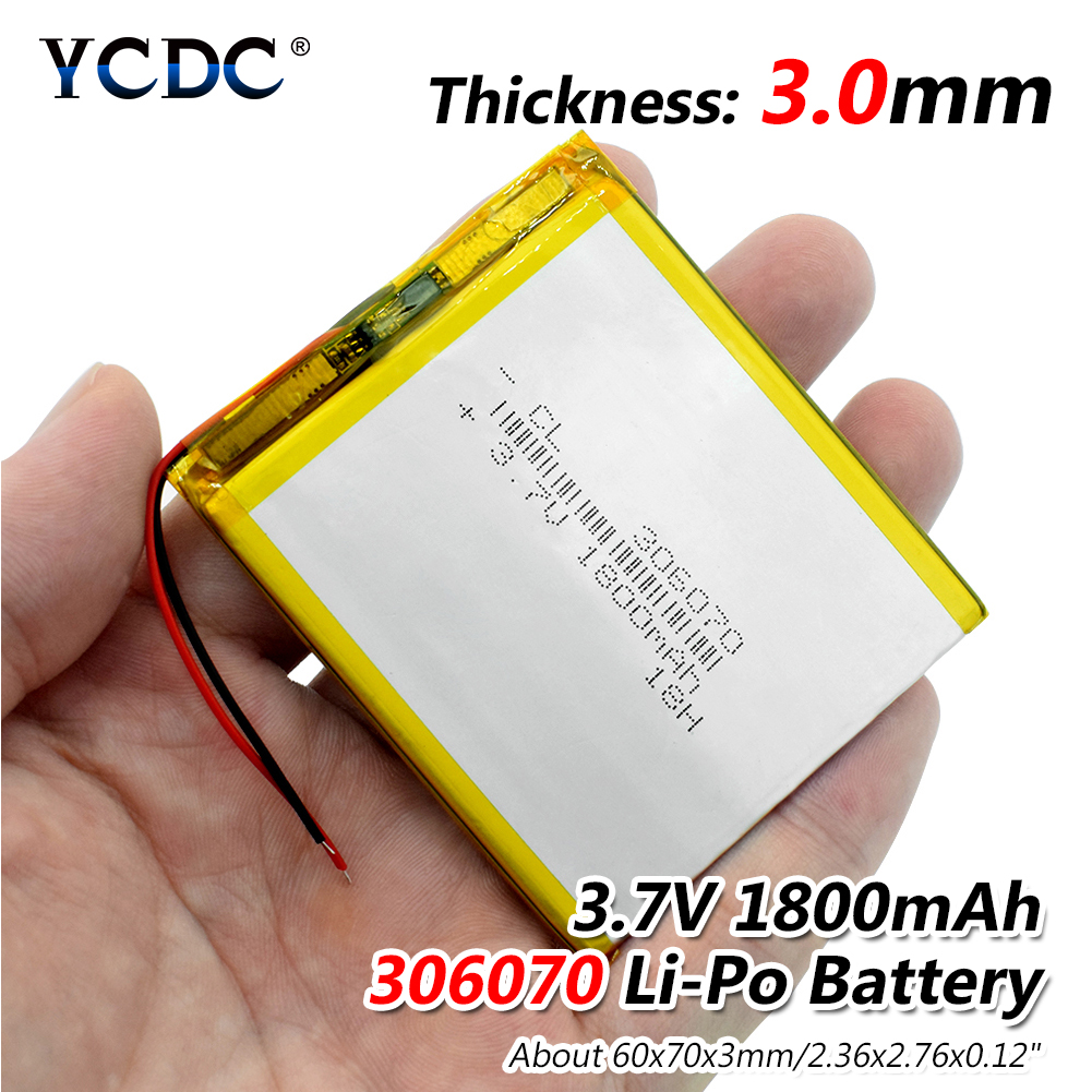3.7V 1800mAh 306070 Lithium Polymer Li-Po Li Ion Rechargeable Battery Lipo Cells For MP3 Toys PDA Speaker Searchlight MP5