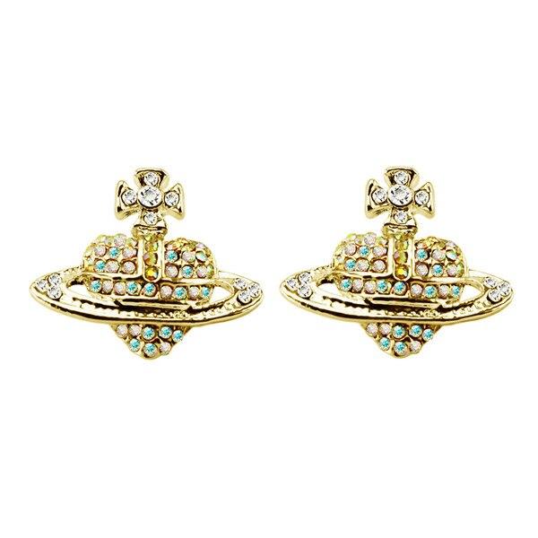 Xiaojingling Fashion Women Girls 925 Sterling Silver Saturn Planet Earrings Crystal Rhinestones Earring Studs Party Jewelry Jewelry & Accessories