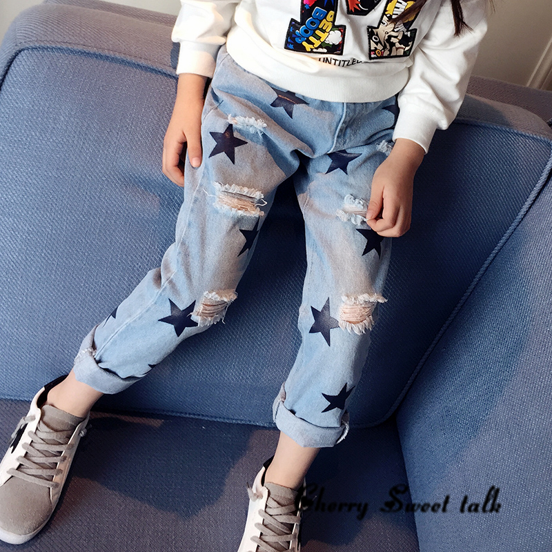 buying new best quality new varieties US $10.62 10% OFF|2019 Children's jeans, stars jeans girl, ripped jeans.  Girls