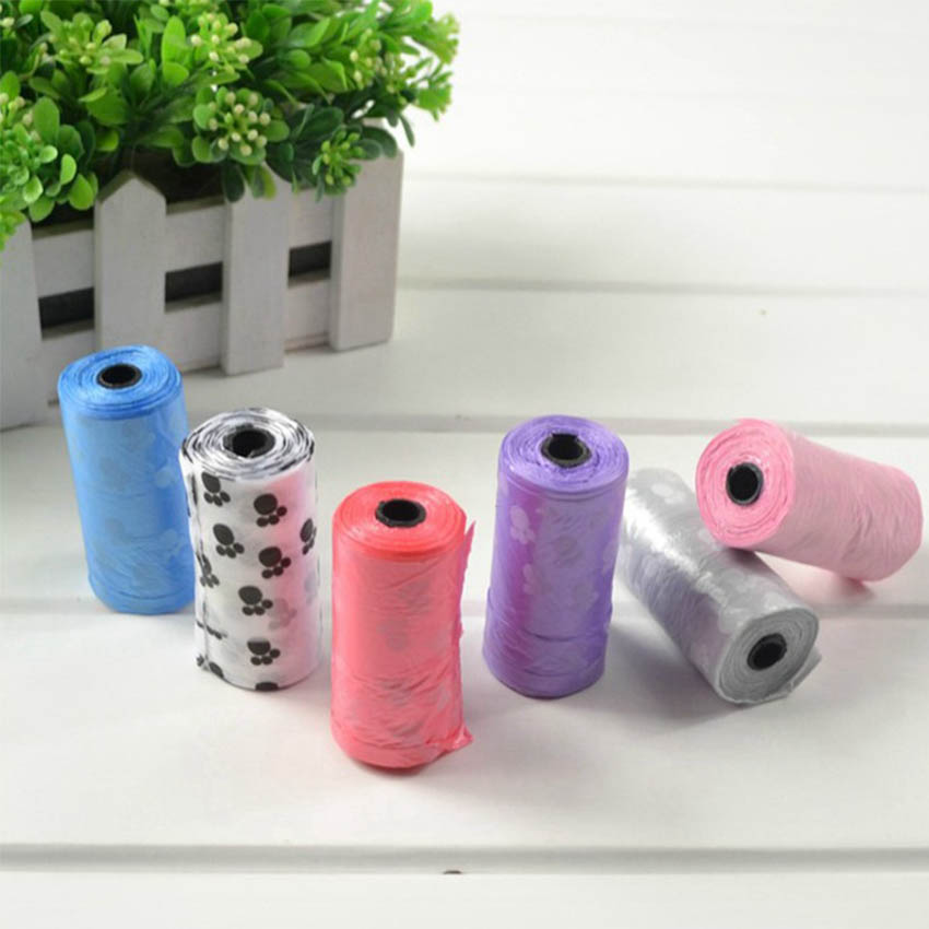 5 Roll/lot Pet Dog Waste Poop Bag Degradable Printing Plastic Garbage Carrying Bags For Cats Dogs Supplies ENH009
