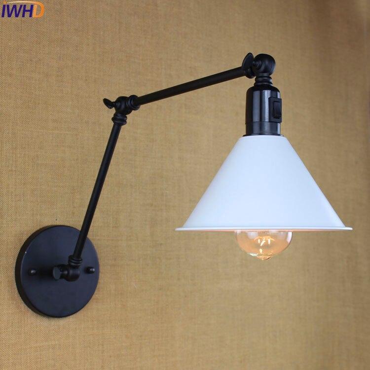 Industrielle Vintage Mur Lampe Avec Interrupteur Éclairage À La Maison Style Loft Edison Long Bras Wall Light Applique Arandelas Lampara Pared