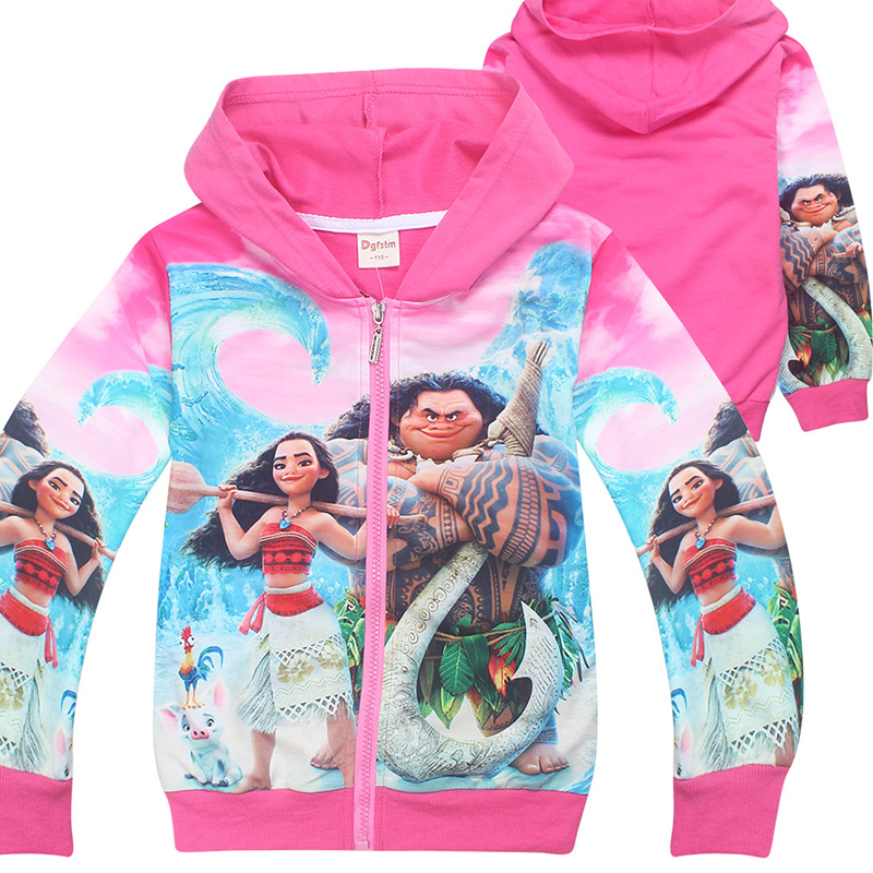 Children Halloween Moana Hoodie Costume Kids Spring Autumn Zip Sweatshirt Coat Cotton Jacket Cartoon Outfit For Girls 4-10T