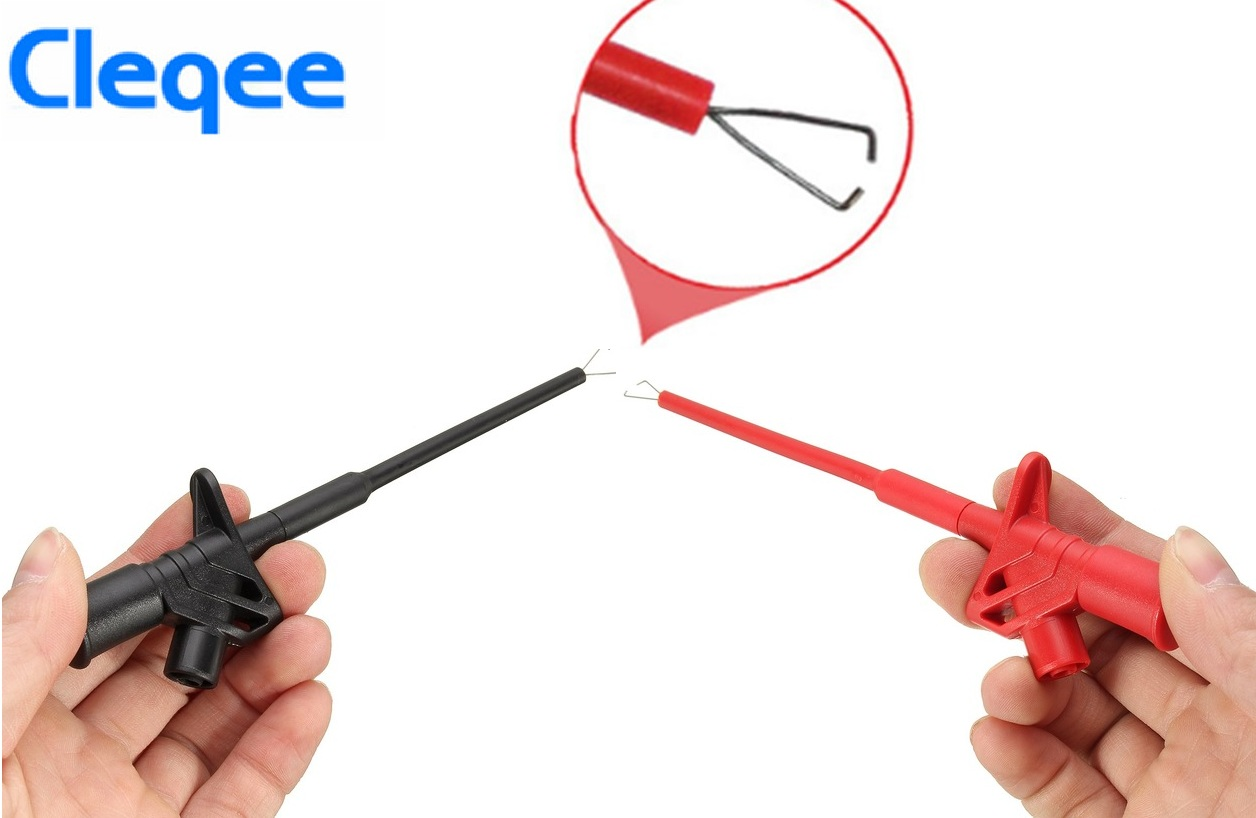 2018 Cleqee <font><b>P5004</b></font> 2PCS Professional Insulated Quick Test Hook Clip High Voltage Flexible Testing Probe image