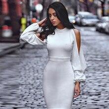 White Long Sleeve Celebrity Bandage Bodycon Party Dress