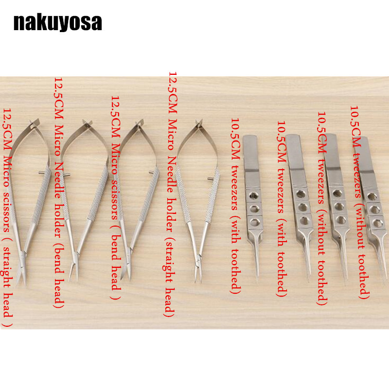 8pcs set 12 5cm scissors Needle holders tweezers stainless steel surgical instruments ophthalmic microsurgical instruments