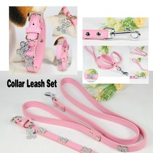 (1 collar+1 leashes) Perro Collar Lead for small big Dog S M L Pink Pu Material Bling Diamond Bone Large Dog Collar leash set