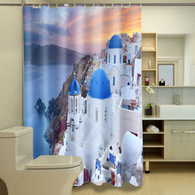 3d Shower Curtains Mediterranean Sea View Castle Pattern Bathroom Curtain Waterproof Thickened Bath Curtain Customizable цена 2017
