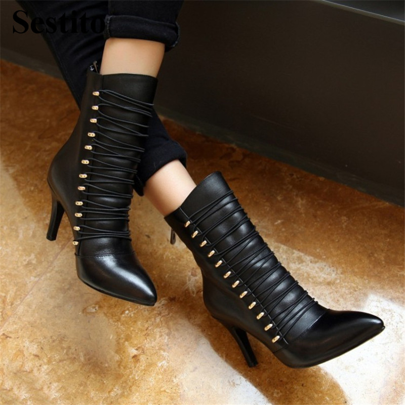 Fashion Cross-tied Black Woman Boots Pointed Toe Women Shoes Ankle Boots For Women Super High Heel Thin Heels Zip Short BootsFashion Cross-tied Black Woman Boots Pointed Toe Women Shoes Ankle Boots For Women Super High Heel Thin Heels Zip Short Boots
