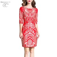 ElaCentelha יוקרה מודפס משרד עבודת OL שמלת Vestidos שמלות נשים סתיו אביב גבירותיי Bodycon Slim בנות פלוס XXXL