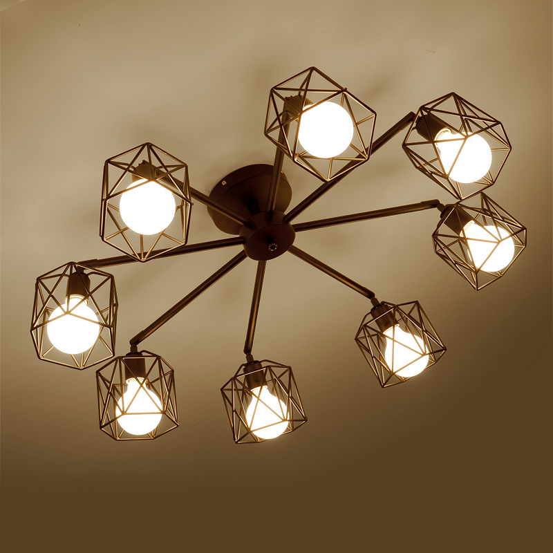 New Ceiling Lamp Modern American Country Cage Iron Metal LED Light Hall  Porch Walkway Lobby Bar Store Decorate Lighting Fixture