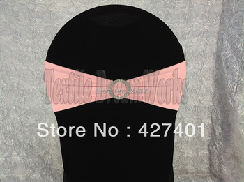 Hot Sale Pale Pink Spandex Bands / Lycra Band /Chair Covers Sash With Round Buckle For Wedding & Banquet