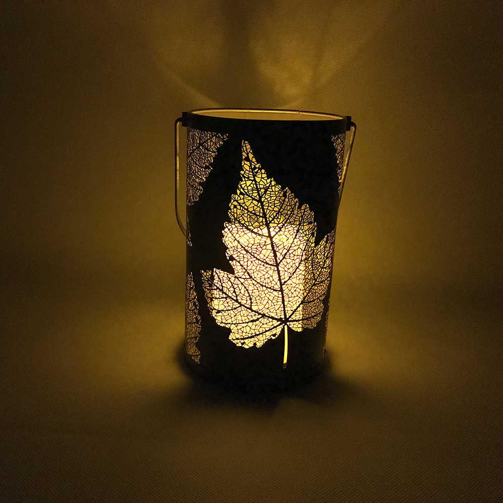 דקורטיבי led אורות רטרו מתכת מייפל-עלה אור שולחן LED נר מנורת IP44 עמיד למים פנס תליית אורות פטיו גן
