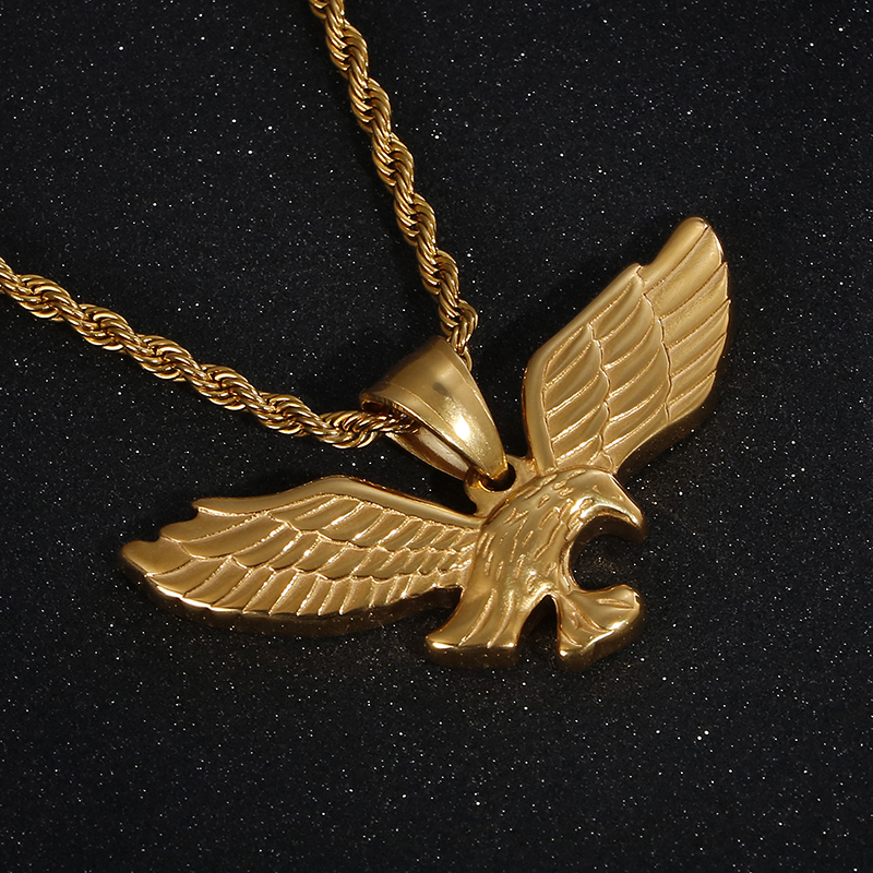 Eagle Pendants round cross chain mens necklace gold silver color necklace Jewelry Stainless Steel Animal Eagle(China)