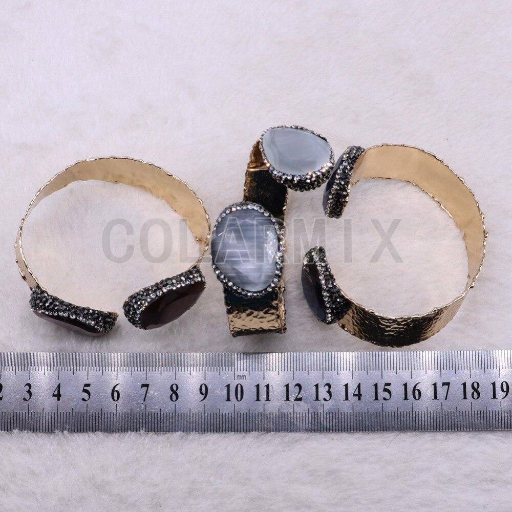 Haute qualité facette oeil de chat pierre bracelet Double pierre bijoux en métal bracelet bracelet bijoux en gros 3 pièces 3633-in Bracelets from Bijoux et Accessoires    3