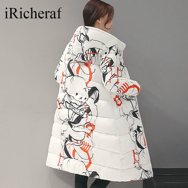 Long Slim Winter Down Jacket Coat Women Thickened Hooded Warm Elegant Cotton Padded Fashion Printed Top Quality Ladies Jackets