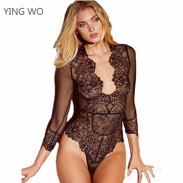 cf52b8aaea08 Black/Rose/Navy Blue Sexy Plunging V Neck Sheer Mesh Lace Long Sleeve  Bodysuit Plus Size Woman Hollow Out Teddies Lingerie