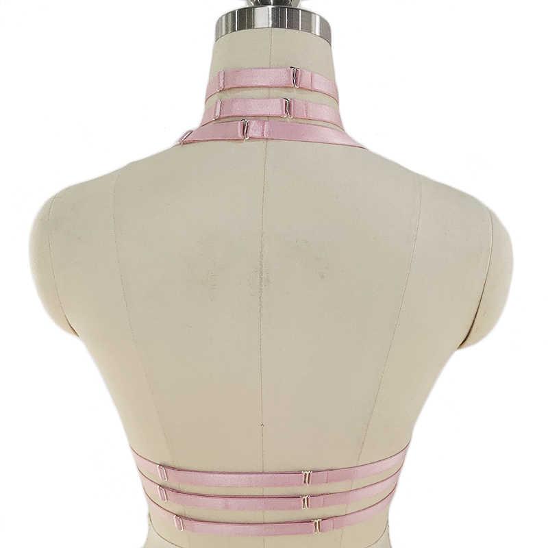 オリジナルデザインのピンク襟弓ハーネスブラジャーかわいい開胸レースブラボンデージボディスーツケージパステルゴシック体ハーネスベルト