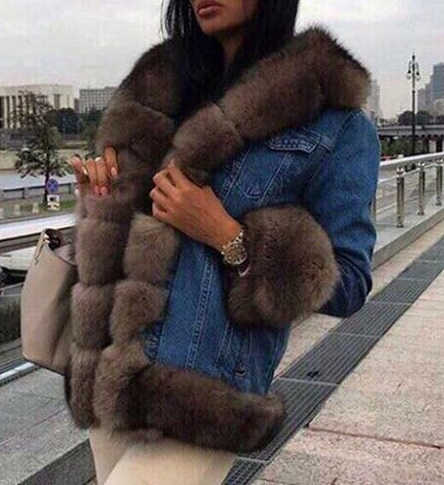 women denim jeans parka coat jacket  with real fox fur collar trim cuffs with lining 2018  fashio plus size  winter thick warm