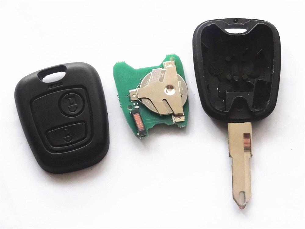 Reemplazar A Distancia Llave Del Coche Fob 2 Botón 433 MHz ID46 para Peugeot 206