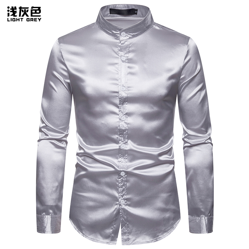 US Size 2019 Autumn New Men 39 S Fashion Slim Casual Bright Long Sleeved Henry Collar Shirt Business Men 39 S Shirt Party Shirt in Casual Shirts from Men 39 s Clothing