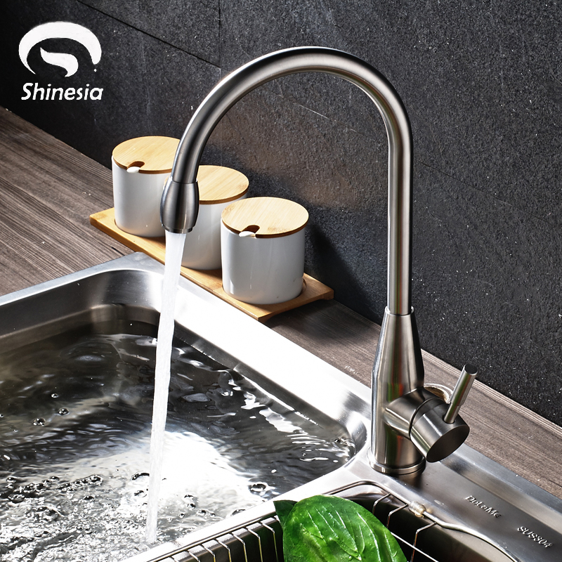 все цены на Stainless Steel Single Mixer Tap Nickel Brushed Kitchen Sink Faucet Swivel Spout Mixer Tap Deck Mounted