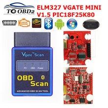 Vgate scanner mini elm327 bluetooth v1.5 obd2 scanner de diagnóstico do carro para android elm 327 v 1.5 obdii obd 2 ferramenta de diagnóstico automático