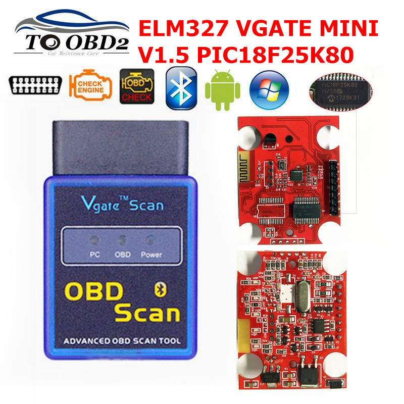 VGATE Scanner Mini <font><b>ELM327</b></font> <font><b>Bluetooth</b></font> V1.5 OBD2 Car Diagnostic Scanner For Android ELM 327 V <font><b>1.5</b></font> OBDII OBD 2 Auto Diagnostic Tool image