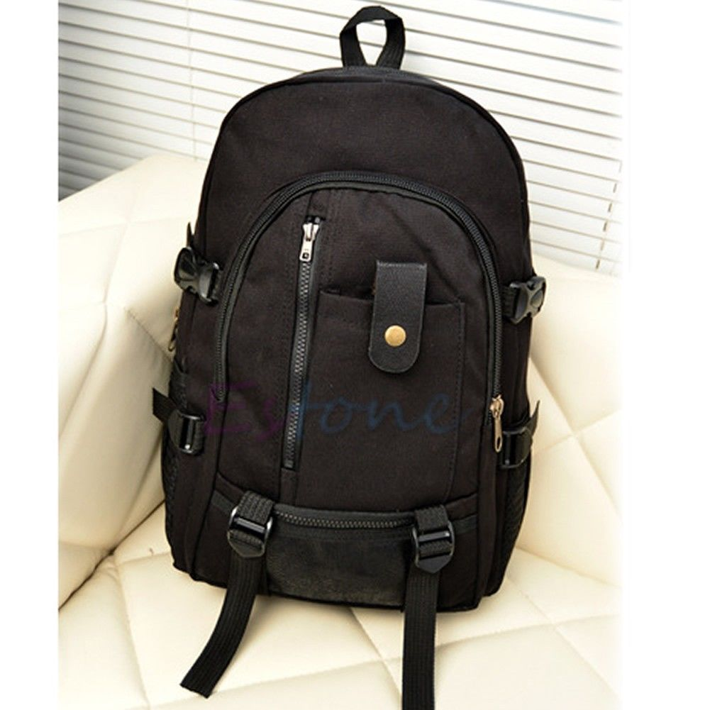 Men Women Large Capacity Vintage Canvas Backpack Multifunction Rucksack Zipper Solid School Satchel Bag 4 Colors