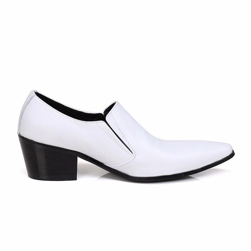 Christia bella novo clássico branco couro genuíno dos homens sapatos de casamento plus size apontou toe vestido sapatos de salto médio sapatos de negócios - 5