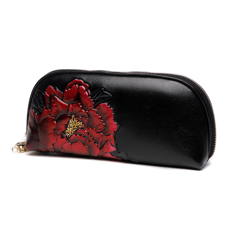 Chinese Vintage Embossing Peony Wristlet Genuine Leather Hand Clutch Celebrity Clutches Women's Purse Wallet Card Holder Handbag women s long wallet banquet clutches handbag genuine leather purse chains shoulder crossbody wristlet card holder passport bag