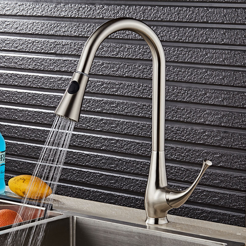 New Design Pull Out Kitchen Faucet Nickel 360 Degree Swivel Kitchen Sink Faucet Mixer Kitchen Vanity