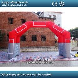 6mWx4mH 20ft 4 Patas inflable comienzo fin arco carrera hinchable acabado línea arco publicidad deportes promocionales arco de eventos