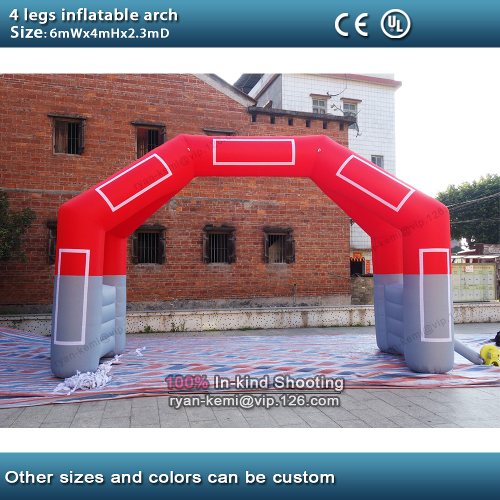 6mWx4mH 20ft 4 Legs Inflatable Start Finish Arch Inflatable Racing Finish Line Arch Advertising Sports Promotional Events Arch