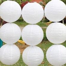"""Λευκό χαρτί φανάρια 10 τεμαχίων / παρτίδα 4 """"(10 εκατοστά) Στρογγυλό χαρτί φανάρια λαμπτήρες φεστιβάλ γάμου διακόσμηση κινέζικα φανάρια"""
