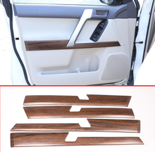 4pcs Pine Wood Grain ABS Car Interior Door Decoration Panel Trim For Toyota Land Cruiser Prado FJ150 150 2010-2018 Accessories стоимость
