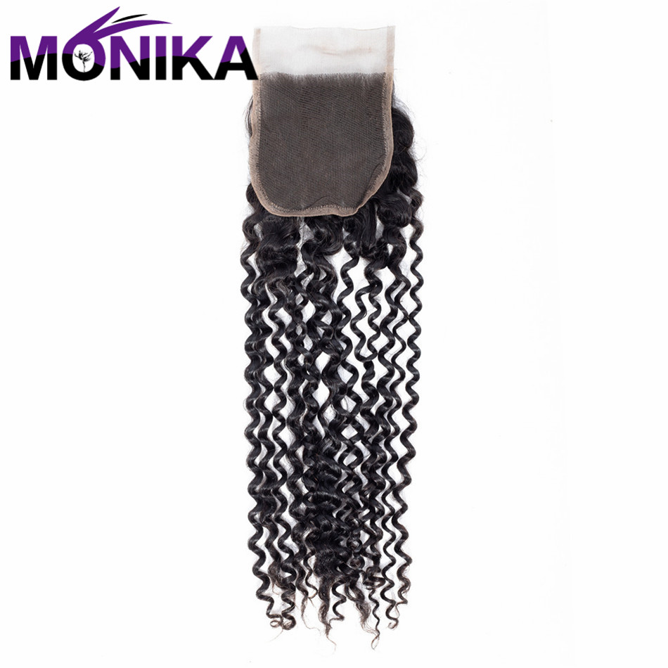 Monika Kinky Curly Lace Closure With Baby Hair Natural Color 4x4 Non Remy Hair 100% Human Hair Free Shipping