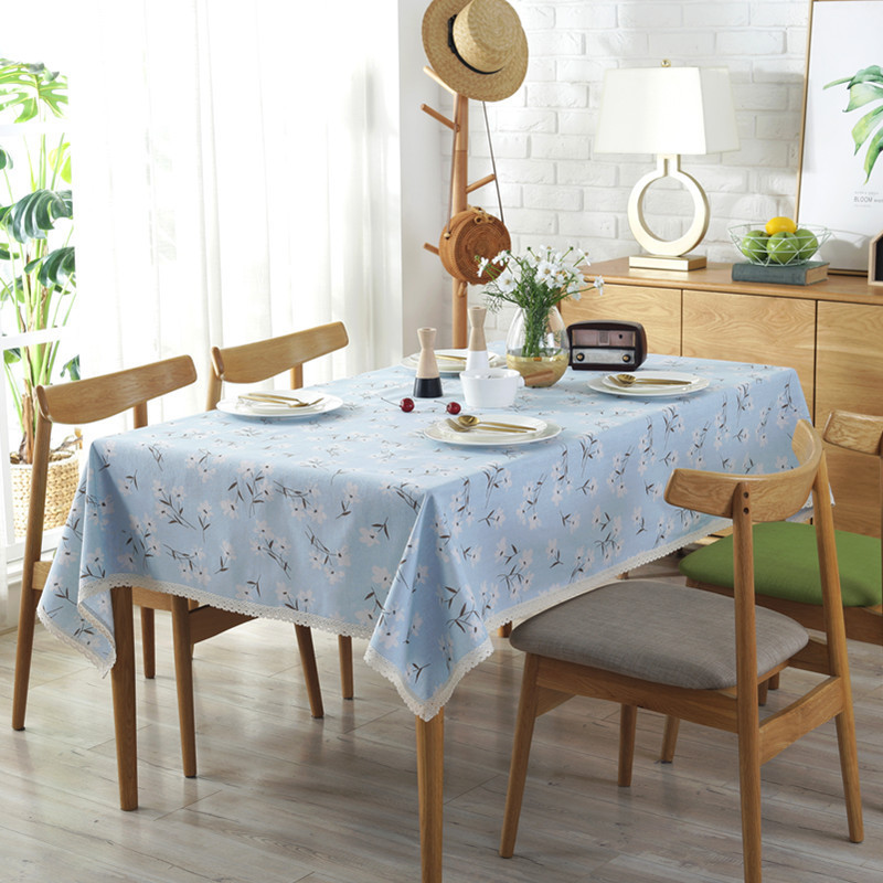 Pastoral Tablecloth Top Quality Dustproof White Floral Table Cloth Lace Edge Haute Blue Cotton Linen Table Cover Home Textile in Tablecloths from Home Garden
