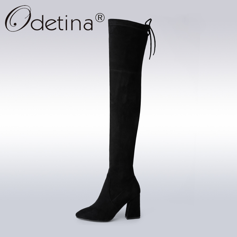 Odetina 2017 Genuine Leather Cow Suede Women Pointed Toe Thigh High Boots Stretch Sexy Over The Knee Boots High Heels Plus Size цены онлайн