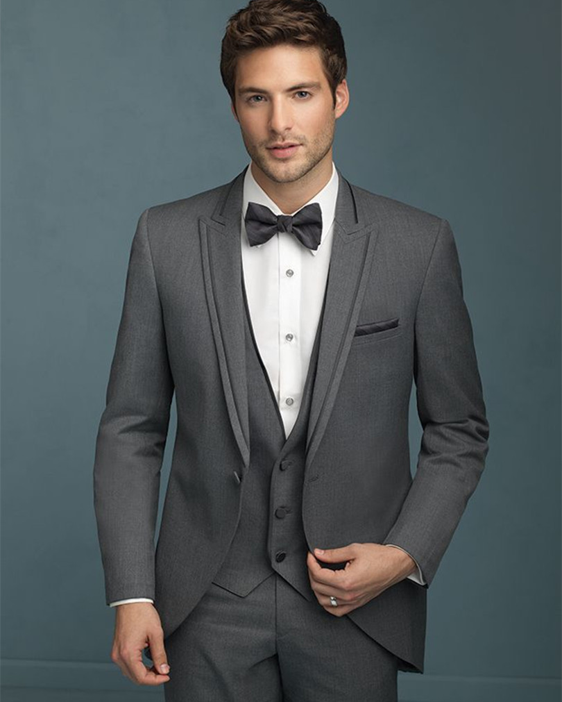 bespoke mens suit gray for wedding groom tuxedos three piece wool ...